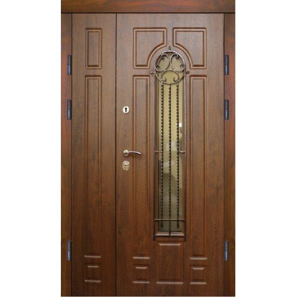 Двері вхідні Класік+ В 12 скло, Ліві, О, 2050, 1200, К11, дуб зол він, дуб зол мат, С2-1