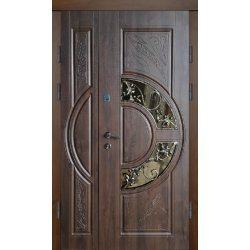 Двері вхідні Класік+ В 12 скло2, Праві, О, 2050, 1200, К66, дуб зол він, дуб зол мат, Z114-2