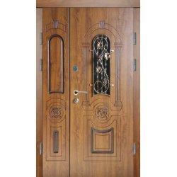 Двері вхідні Класік+ в 9 скло, Ліві, О, 2050, 960, дуб зол він, дуб зол мат, Z 97