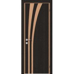 Дверне полотно Gamma Laguna глухе, венге танзанія, молдинг алюміній (торець меранті), 800/2000/44