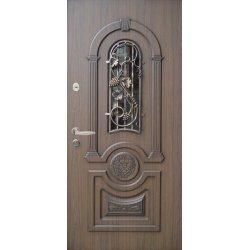 """Вхідні двері Термопласт+ """"Стандарт 90"""", 970х2050, Праві, 97, ПВХ-02+патина, скло+ковка"""